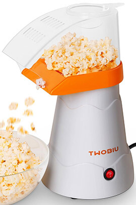 TWOBIU Hot Air Orange Popcorn Maker