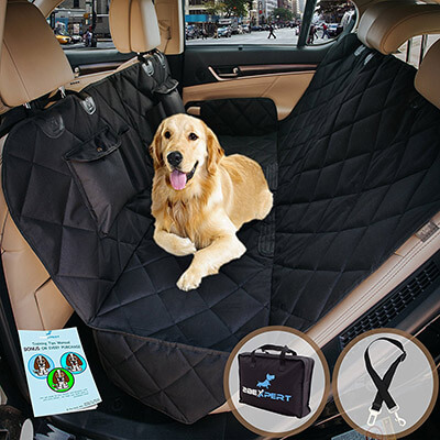 2BExpert Pet Car Hammock, Reinforced Quilted Panels Dog Seat Cover