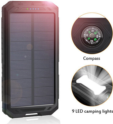 ADDTOP Portable Power Bank Solar Battery, 12000mAh Solar Charger