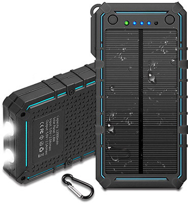 Hiwill Solar Charger 12000mah, IP67 Waterproof Portable Solar Phone Charger