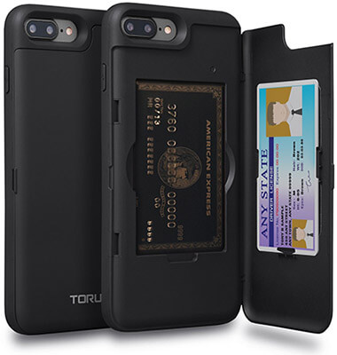TORU iPhone 8 Plus Case with Hidden Credit Card Holder ID Slot Card Case