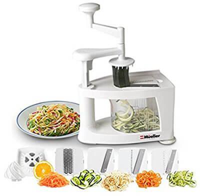 Mueller Multi-Blade Spiralizer, 8-in-1 Spiral Slicer, Vegetable Pasta Maker