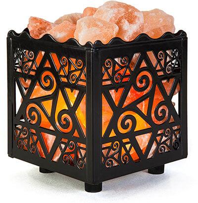 Crystal Decor Natural Himalayan Salt Lamp, Star Design Metal Basket
