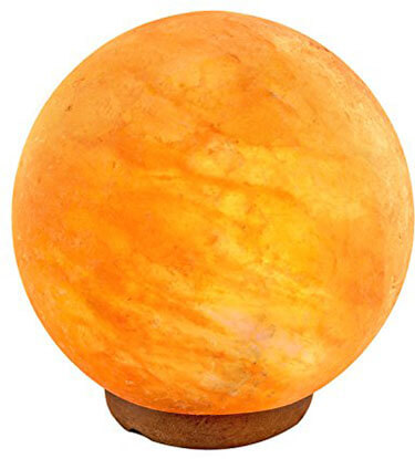 Crystal Allies Gallery Natural Himalayan Globe Salt Lamp on Wood Base