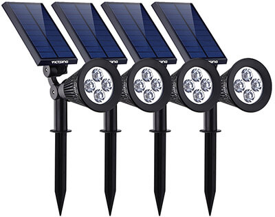 VicTsing Third Generation 2-in-1 Waterproof Adjustable 4 LED Wall / Landscape Solar Lights
