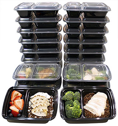 Misc Home 2 Compartment Meal Prep Containers (20 Pack)