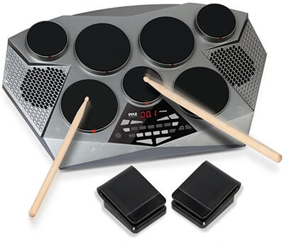 Pyle Electronic Drum Set Pad, Built-in Speakers, Foot Pedals & Drum Sticks