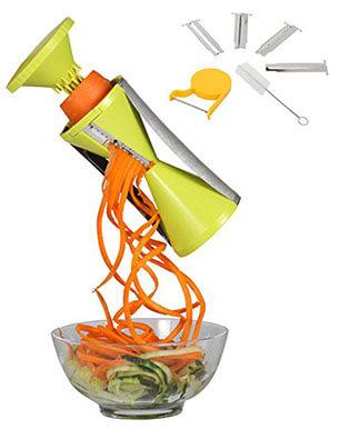 Kufu Spiralizer Vegetable Spiral Slicer Bundle, Brush, Peeler