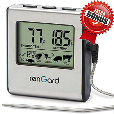 RenGard RG Digital Meat Probe Thermometer, Alarm, and Stainless Steel Probe