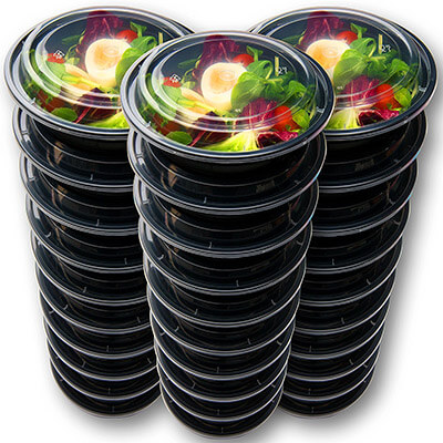 Prep Naturals Round Meal Prep Containers with leakproof Lids (30 Pack)