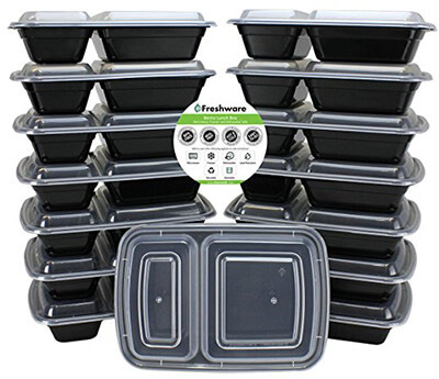 Freshware 2 Compartment Bento Lunch Boxes with Lids, (15-Pack)