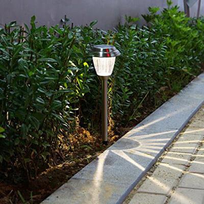 Voona Solar LED Outdoor Lights Stainless Steel Pathway Landscape Lights (8 Pack)