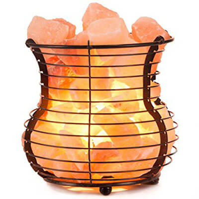 Crystal Allies Natural Himalayan Salt Wire Mesh Basket Vase Lamp