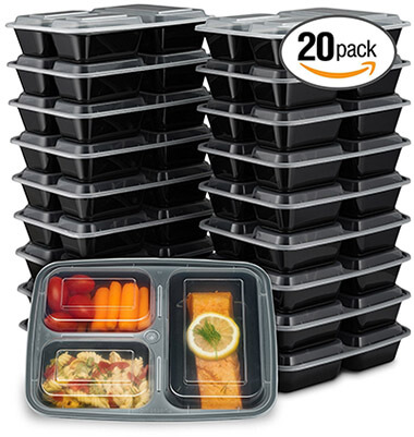 Ez prepa 3 Compartment Meal Prep Containers with Lids (20 Pack)