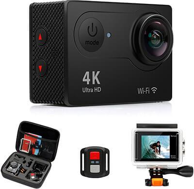 2. FITFORT Action Camera 4K Wi-Fi Ultra HD Waterproof Sports Camera