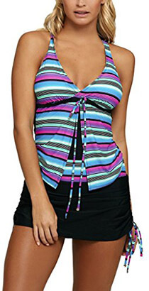 Sidefeel Women Printed Tankini Two- Pieces Swimsuit Set, With Skirtini