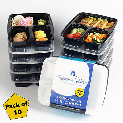 Home n Ware 3 Compartment Meal Prep Food Storage Containers