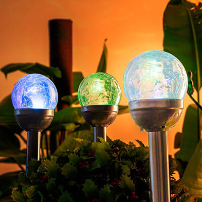 GIGALUMI Outdoor Solar Lights, Cracked Glass Ball Dual LED Garden Lights