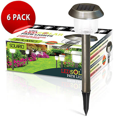 Solario Stainless Steel Garden Solar Powered Stake Lights