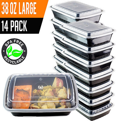 Chefible® 38 oz Meal Prep or Bento Containers, (14-Pack)