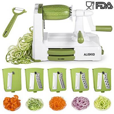 ALISKID 5-Blade Vegetable Spiralizer Slicer Shredder Veggie Grater Cutter
