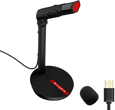 RingKle USB Microphone, Adjustable Stand Omnidirectional Condenser Computer Mic
