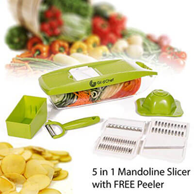 Gil d'Chef Mandoline Vegetable Slicer/Cutter with 5 Stainless Steel Blades