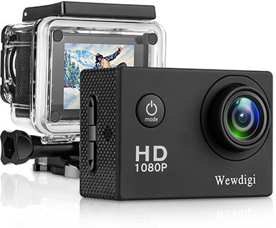 Wewdigi EV4000, 12MP 1080P 2 Inch LCD Screen, 140 View Angle Action Camera