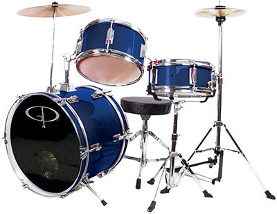 GP Percussion GP50BL three piece Complete Junior Drum Set