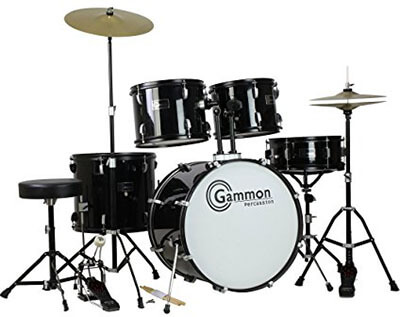 Gammon Percussion Full-Size Complete set of Cymbals Stands Stool and Sticks, Adult 5 Piece Drum Set