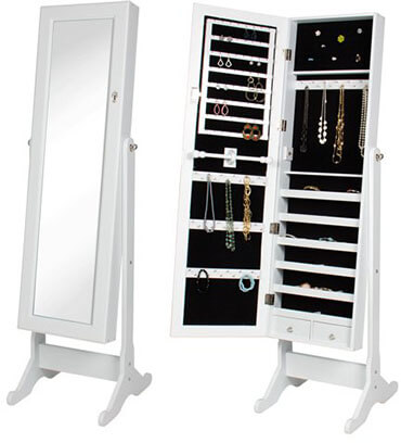 Best Choice Product Mirrored Jewelry Armoire