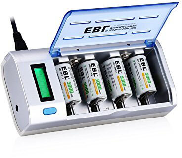 EBL 906 Smart Charger for AA, AAA, C, D & 9V Rechargeable Batteries, 4 Pieces 5000mAh C Rechargeable Batteries