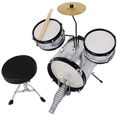 AW 3 pieces Junior Kid Children Drum Set Kit Sticks Cymbal Bass Snare Boy, Throne Silver