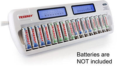 Tenergy TN438 Smart Charger with LCD and Built-in IC Protection, 16 Bays