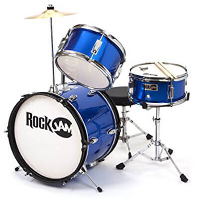 RockJam RJ103-MB three piece Junior Drum Set, Crash Cymbal, Accessories, Adjustable Throne