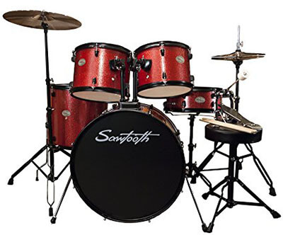 Sawtooth Full Size Student Drum Set with Cymbals and Hardware, Crimson Red Sparkle