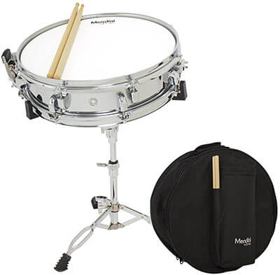 Mendini by Cecilio Student 14 inches Snare Drum Set with Soft Case, Drum Sticks and Stand