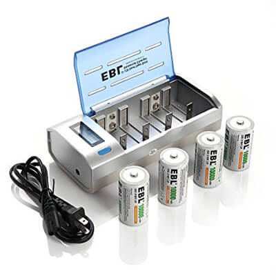 EBL C D 9V AA AAA Battery Charger with D Cells 10000mAh Rechargeable Batteries