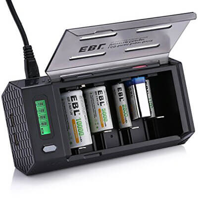 EBL Smart Battery Charger for C/D/9V/AA/AAA Rechargeable Batteries with 2 USB Port