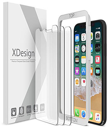 XDesign Tempered Glass Screen Protector, iPhone X 2018 – 3 Pack