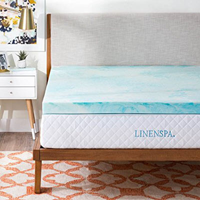 LINENSPA 3'' Gel Swirl Memory Foam Topper, Queen