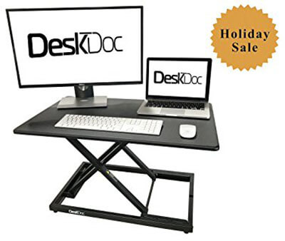DeskDoc Premium Standing Desk Converter, 32i x 20-Inch Workspace, Sit to Stand in Seconds