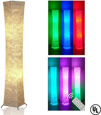 LEONC Design Slim RGB Color Changing LED Soft Light Floor Lamp, Remote Control
