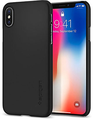 Spigen Thin Fit iPhone X Case with Non-Slip, SF Coated Matte Surface