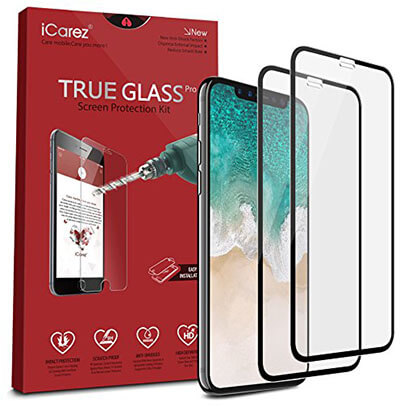 iCarez Tempered Glass Screen Protector for iPhone X