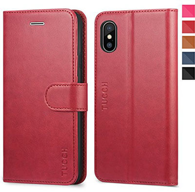 TUCCH Premium PU Folio Leather 10 Wallet, TPU Shockproof Interior