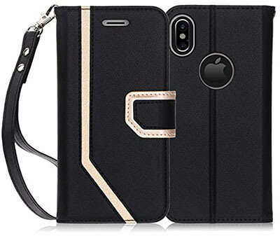 FYY iPhone X Wallet Case, with Cosmetic Mirror