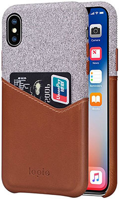 Lopie Fabric Slim Fit Hard Back Case Wallet Cover iPhone X Case