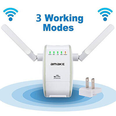 AMAKE 300Mbps Wireless N Repeater WiFi Router Range Extender, 2.4GHz Signal Booster