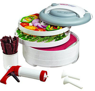Nesco FD-61WHC Snackmaster Express Food Dehydrator All-In-One Kit, Jerky Gun